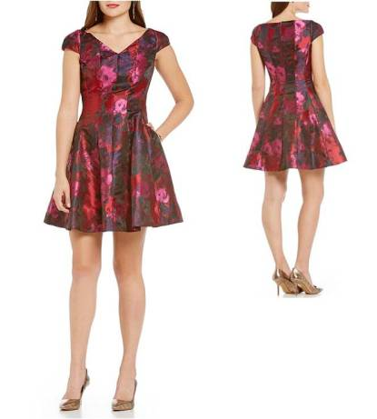 Valentine's Day Dresses Under $100 Sweet Cute Floral Flare Girly Donna Ricco Floral Cap Sleeve Fit-and-Flare Dress Front and Back 4.jpg