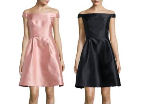 Valentine's Day Dresses Under $100 Sweet Cute Pink and Black Girly scarlett-off-the-shoulder-fit-and-flare-dress 3.jpg