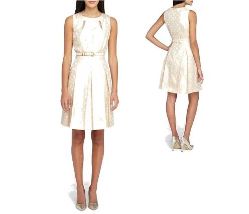 valentines-day-dresses-under-100-sweet-cute-pink-girly-tahari-asl-metallic-dot-print-jacquard-fit-and-flare-dress-front-and-back-5