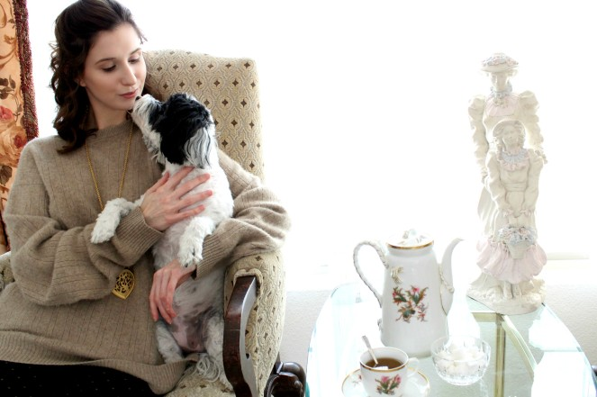 Staycation Tea Time Puppy Lazy Day Life of Luxury Fashion Blogger Lifestyle