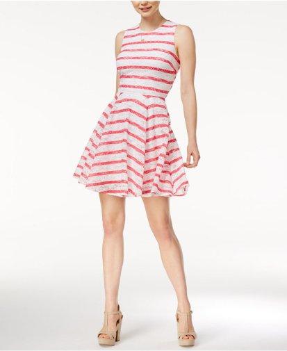 MAISON JULES STRIPED LACE FIT & FLARE DRESS