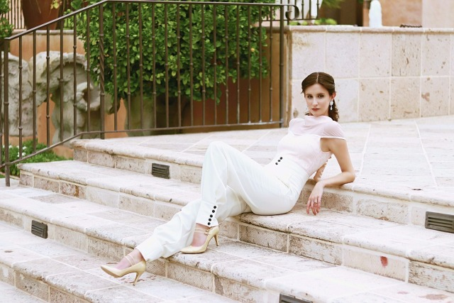 Codename Couture Fashion Blogger Outfit Designer Theo Doro Trousers amd Pink top Bone Heels Fashio (2)