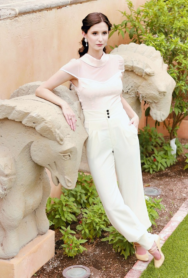 Codename Couture Fashion Blogger Outfit Designer Theo Doro Trousers amd Pink top Bone Heels Fashion Photography 4 (2)
