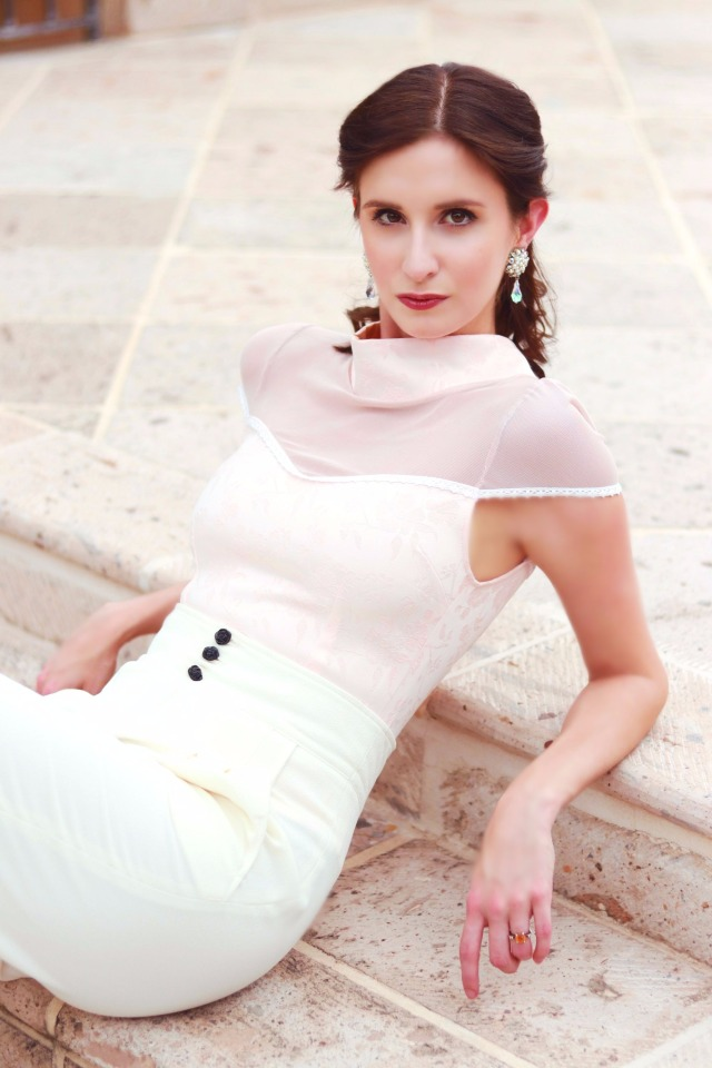 Codename Couture Fashion Blogger Outfit Designer Theo Doro Trousers amd Pink top Bone Heels Fashion Photography 5