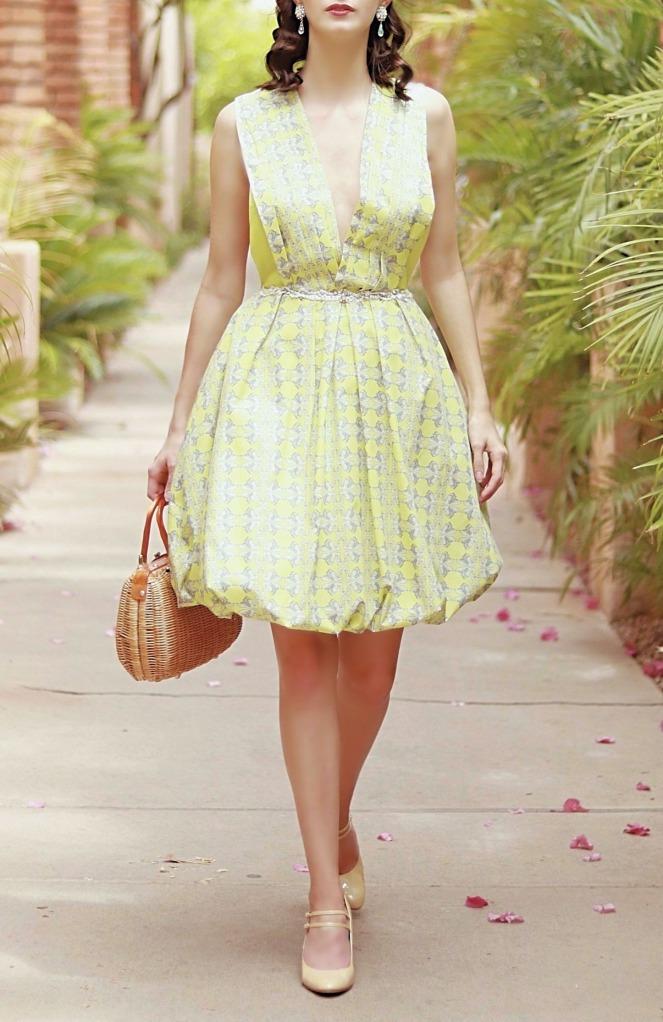 Odd Bird Designs Designer Green Dress Pearls Deep Plunge V neck Dainty Girly Fashion Unique Dresse